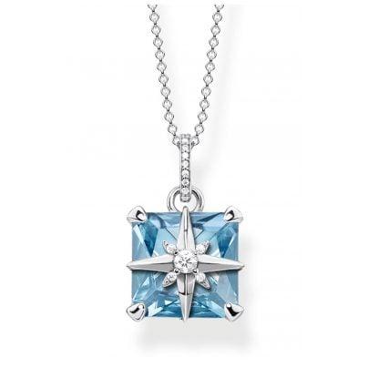Thomas Sabo KE1953-644-31-L45v Halskette Blauer Stein mit Stern Silber 4051245475593