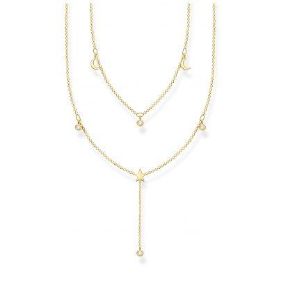 Thomas Sabo KE2070-414-14-L45v Damen-Halskette in Y-Form Silber goldfarben 4051245488531
