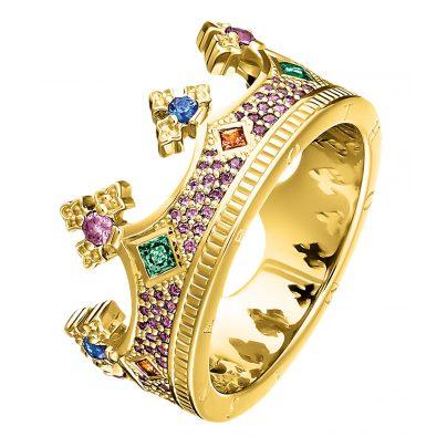 Thomas Sabo TR2265-973-7 Damenring Krone Silber vergoldet