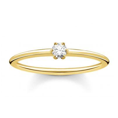 Thomas Sabo TR2312-414-14 Damenring goldfarben mit weißem Stein