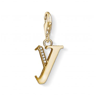Thomas Sabo 1631-414-39 Charm Pendant Letter Y Gold Plated 4051245374636
