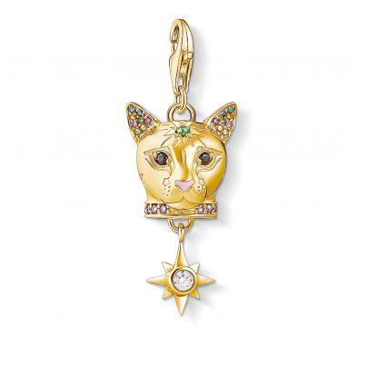 Thomas Sabo 1819-471-7 Charm-Anhänger Katze Silber vergoldet 4051245456615
