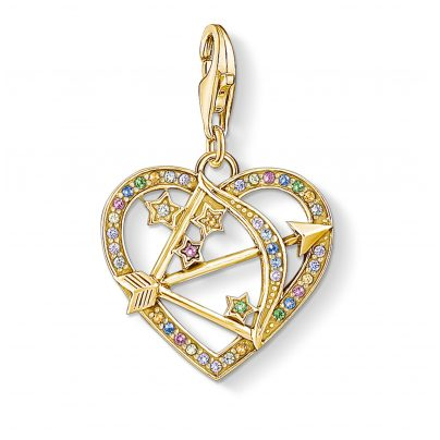 Thomas Sabo 1821-996-7 Charm Pendant Cupid's Arrow Gold-Plated Silver 4051245456592
