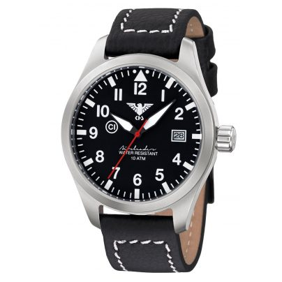 KHS AIRS.LBB Gents Airleader Steel Buffalo Leather Strap Black 4260446981134