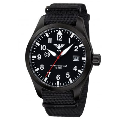 KHS AIRBS.NB Mens Watch Airleader Black Steel Nato Band Black 4260446981172