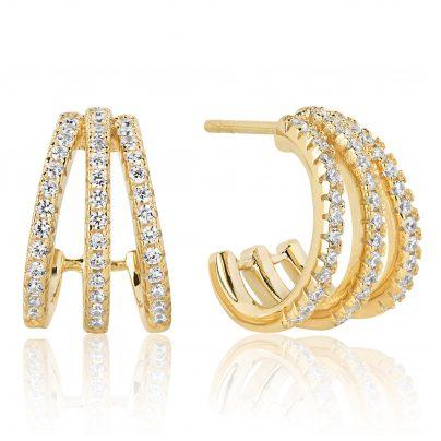 Sif Jakobs Jewellery SJ-E1068-CZ(YG) Silber-Creolen für Damen Ozieri Tre Piccolo Vergoldet 5710698064479