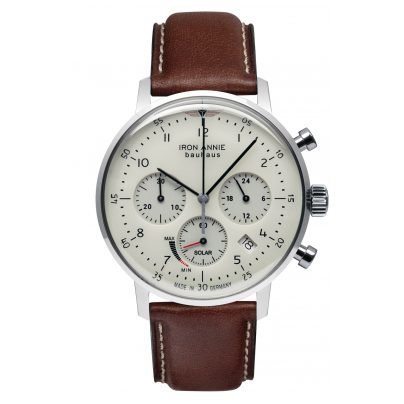 Iron Annie 5086-5 Herrenuhr Solar Chronograph Bauhaus mit braunem Lederband 4041338508659