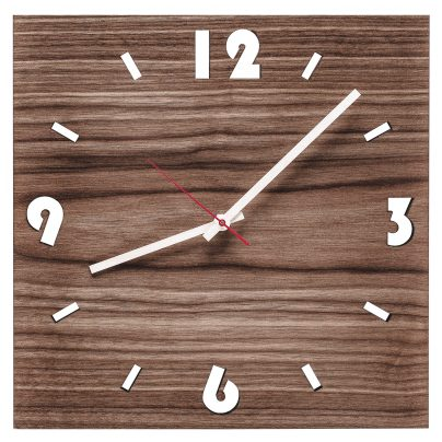 Huamet U1000 Wood Wall Clock Walnut Square 4260497085751