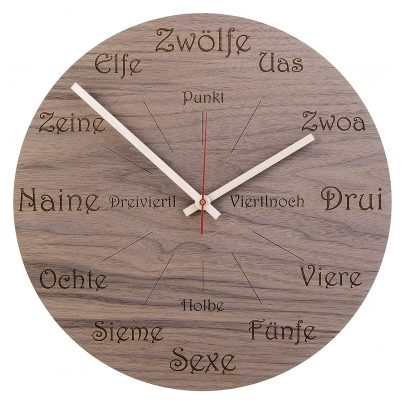 Huamet U1101 Holz-Wanduhr Nuss Dialekt Rund 4260497085782