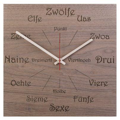 Huamet U1100 Holz-Wanduhr Nuss Dialekt Eckig 4260497085799