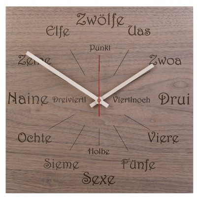 Huamet U1100 Wood Wall Clock Nut Dialect Square 4260497085799