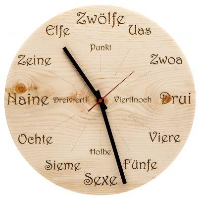 Huamet U4101 Holz-Wanduhr Zirbe Dialekt Rund 4260497085843