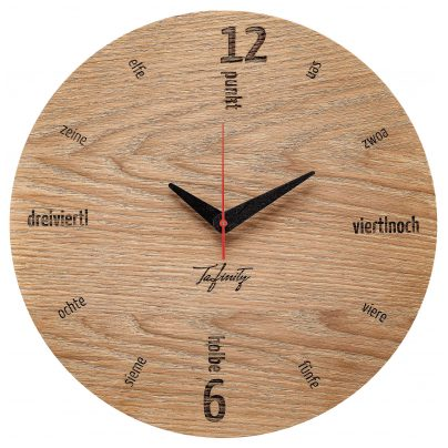 Huamet CA50-A-01 Wall Clock Kultuhr Dialect Oak Wood 4260497088769