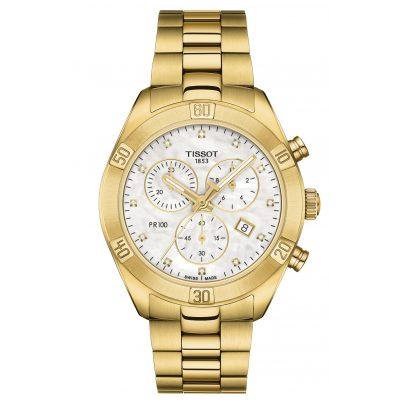 Tissot T101.917.33.116.01 Damen-Chronograph PR 100 Sport Chic Edelstahl gold 7611608293065