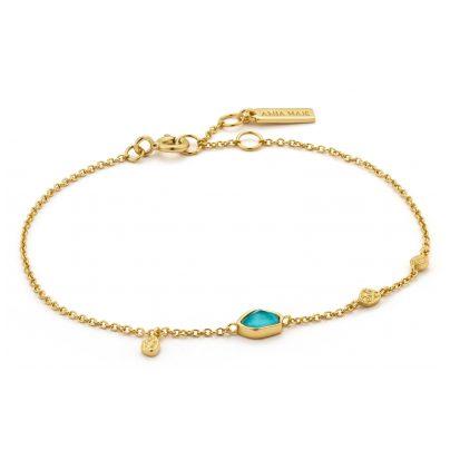 Ania Haie B014-01G Damen-Armband Silber 925 Goldplattiert Turquoise Discs 5052469000249
