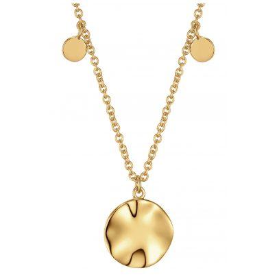 Ania Haie N007-04G Damen-Halskette Silber Goldplattiert Ripple Drop Discs 5052469201080